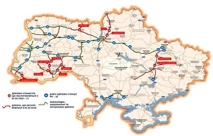 Карта дорожных патрулей на украинских трассах